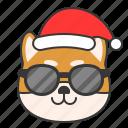christmas, dog, emoticon, shiba, sunglasses