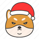 angry, christmas, dog, emoticon, shiba