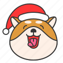 christmas, dog, emoticon, happy, shiba icon