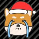 christmas, cry, dog, emoticon, shiba