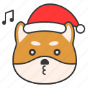 christmas, dog, emoticon, happy, shiba