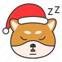 christmas, dog, emoticon, shiba, sleepy icon