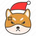 angry, christmas, dog, emoticon, shiba icon
