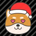 christmas, dog, emoticon, love, shiba