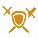 police, security, service, shield, sword icon