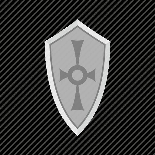 ancient, brave, danger, defense, hilt, iron, shield icon