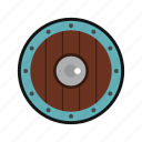 army, danger, defense, hilt, iron, round, shield icon