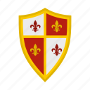 brave, danger, defense, hilt, iron, royal, shield icon