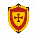 brave, cross, danger, defense, hilt, iron, shield icon