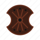 brave, danger, defense, hilt, iron, shield, wooden icon