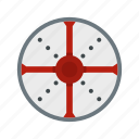 brave, danger, defense, hilt, iron, round, shield icon