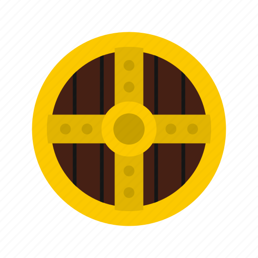 danger, defense, hilt, iron, protective, round, shield icon