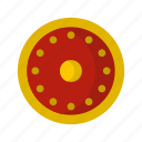 danger, defense, hilt, iron, military, round, shield icon
