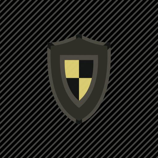 checkered, heraldic, medieval, protection, retro, security, shield icon