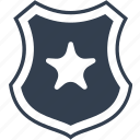 insurance, police, protection, safe, safety, secure, security, shield, star icon