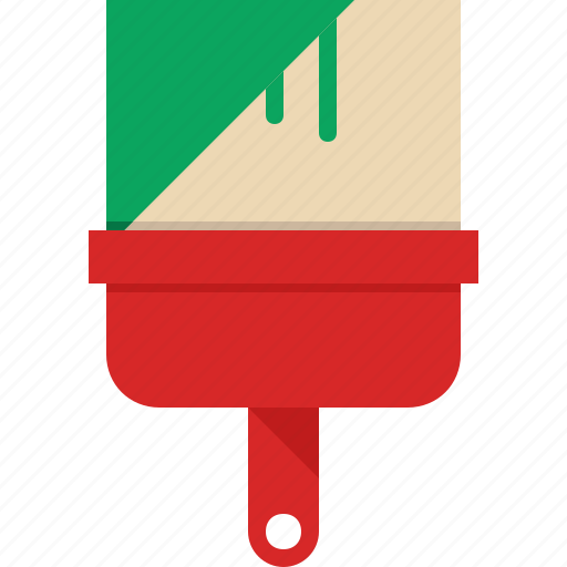 brush, colour, green, paint icon