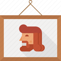 beard, frame, human, man, photo, wooden icon