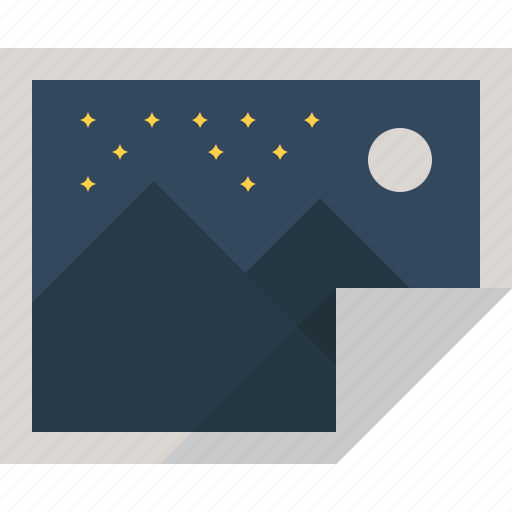 hills, moon, night, stars, wallpaper icon