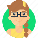 avatar, female, girl, glasses, gloria, intelligent, smart, specs icon