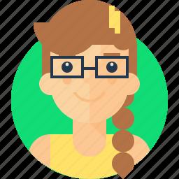 avatar, female, girl, glasses, gloria, intelligent, smart, specs icon