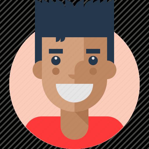 avatar, boy, cheerful, mark icon