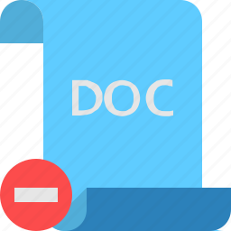 doc, file, remove icon
