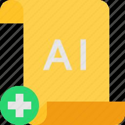 add, file, illustrator icon