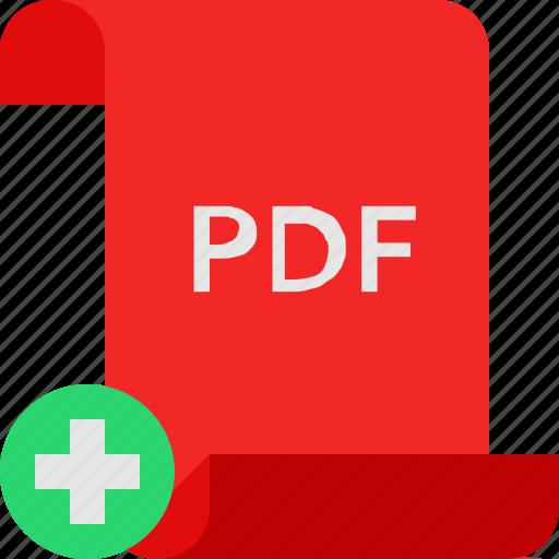 add, file, pdf icon