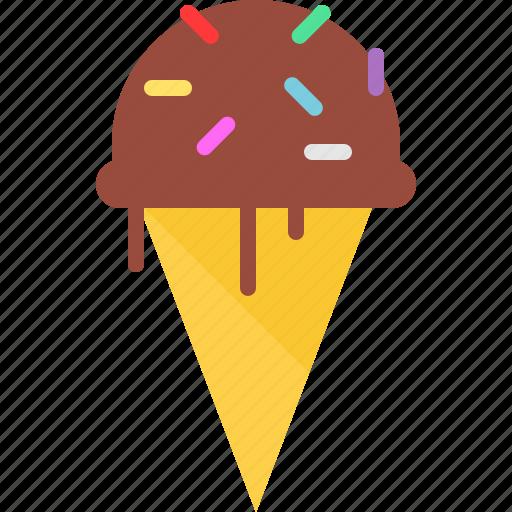 chocolate, cone, icecream icon