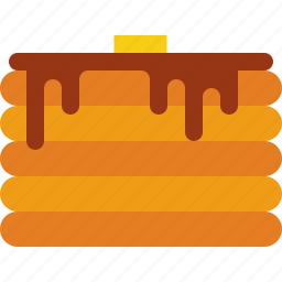 butter, chocolate, pancake icon