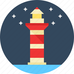 lighthouse, stars icon
