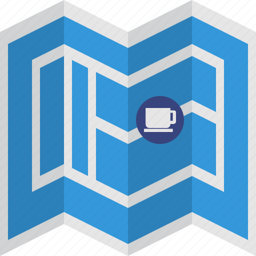 blue, coffee, map, roads icon