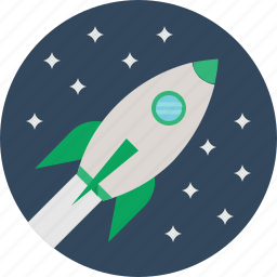 rocket, space, stars icon
