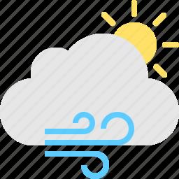 cloud, day, sun, windy icon