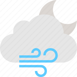 cloud, moon, night, windy icon