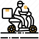 courier, delivery, messenger, motorbike, service icon