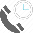 call, clock, phone, time icon