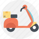 delivery service, fast delivery concept, free delivery, home delivery, scooter with box icon