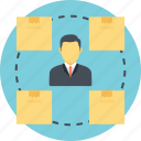 delivery management, delivery processing, freight man, product head, warehouse manager icon