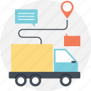 delivery location search, delivery routing, gps assistance, logistic tracking, transportation icon