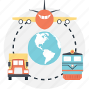 air delivery, delivery truck, freight train, global delivery concepts, logistics network icon