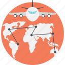 air freight, airmail, cargo concept, global routing, international delivery icon
