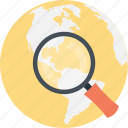 magnifier globe, internet search, globe magnifying glass, world exploration, global search icon