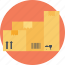 cardboard boxes, logistic storage, packages stack, sealed goods, warehouse icon
