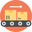 delivery service, delivery transformation, parcel distribution, production line, storage and shipping system icon