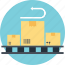 easy return, exchange and return the purchase, return purchase, return shipping, return to sender icon