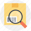 barcode scanner, magnifier on barcode, order tracking, parcel tracking, search parcel icon