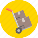 barrow, boxes, cart, hand cart, transport, trolley, wheelbarrow icon
