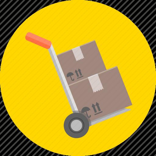 barrow, boxes, cart, hand cart, transport, trolley, wheelbarrow icon