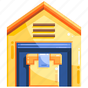 factory, logistics, package, shopping icon